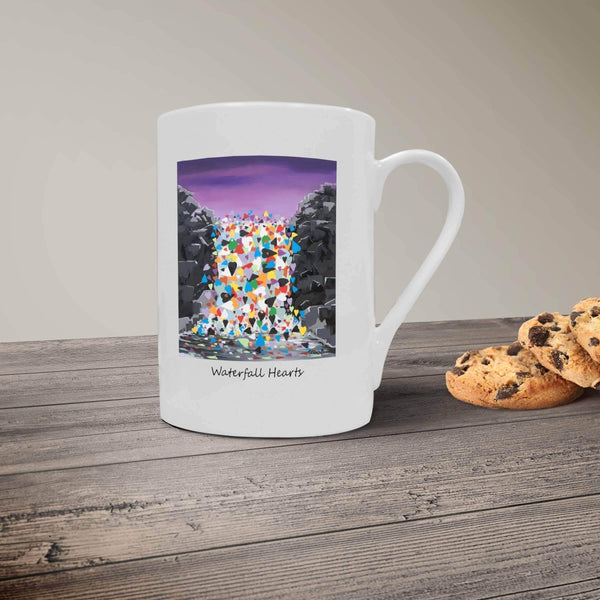 Waterfall Hearts- Bone China Mug