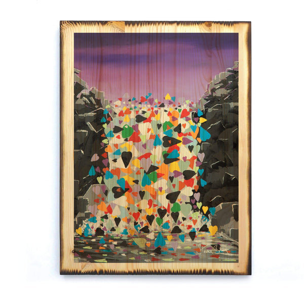 Waterfall Hearts - Timber Print