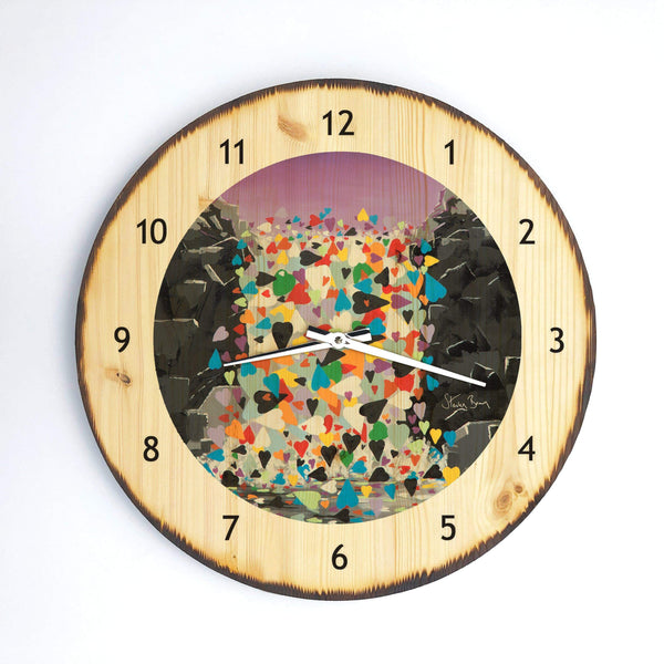 Waterfall Hearts - Wooden Clock