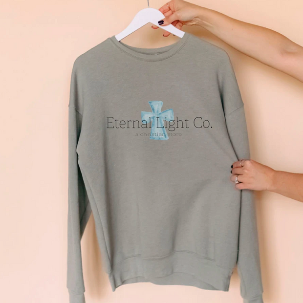Eternal Light Logo Sweatshirt (Bella Canvas Heather Stone 3945)