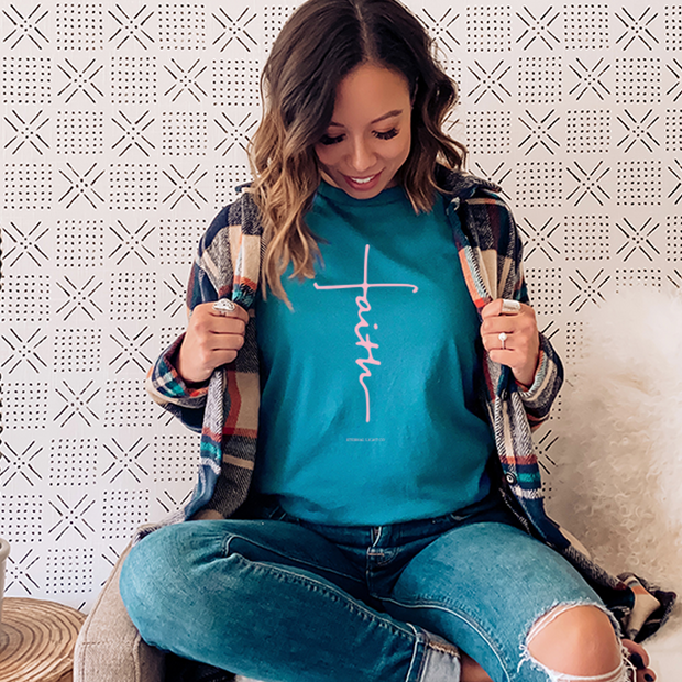 Turquoise Faith Cross Short Sleeve Shirt