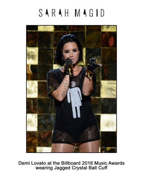 Demi Lovato at the Billboard 2016 Music Awards wears the Jagged Crystal Ball Cuff by Sarah Magid Jewelry