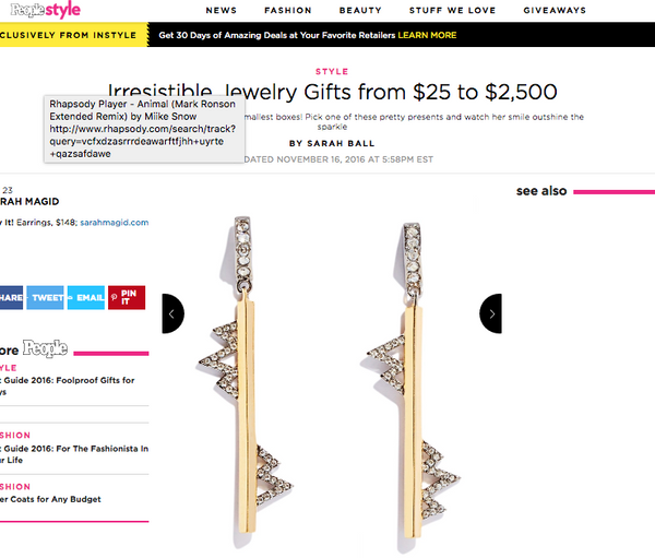 People Magazine Gift Guide includes Spark Linear Earrings by Sarah Magid Jewelry