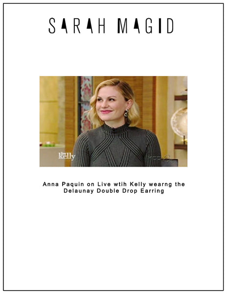 Anna Paquin wears Delaunay Double Drop Earring on Live with Kelly
