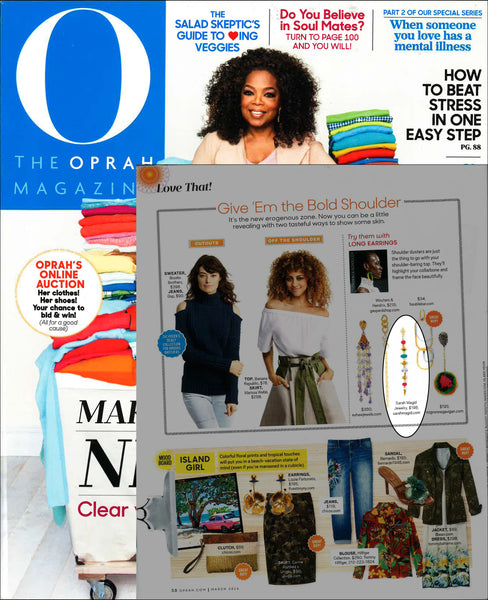 Oprah Magazine features Siesta Linear Earring by Sarah Magid Jewelry