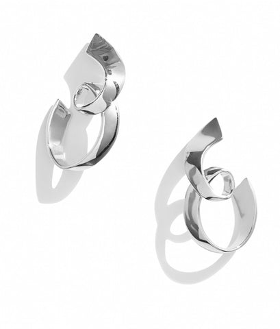 RHODIUM RIBBON HOOPS