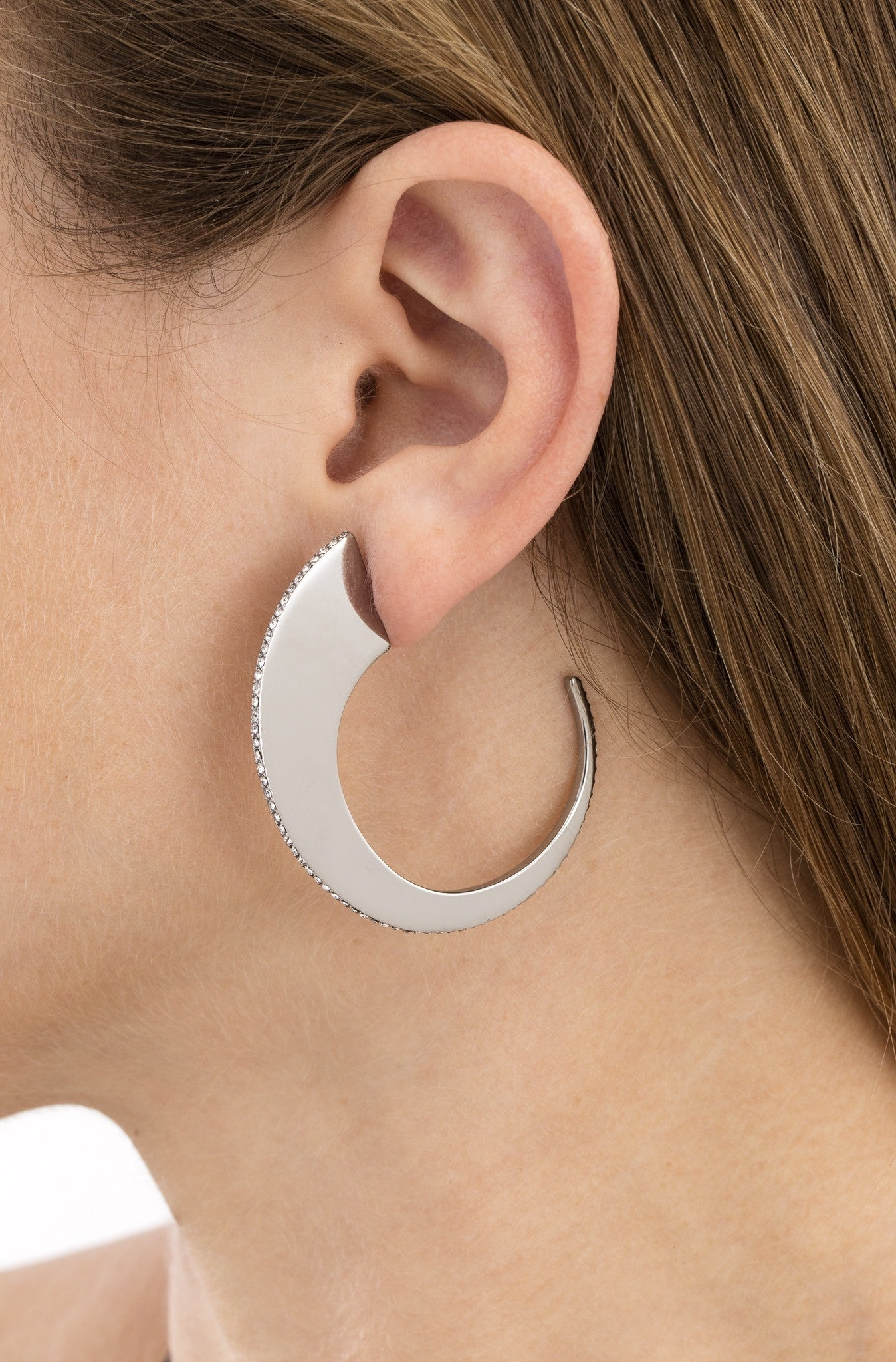 Hematite Slice Hoops by Sarah Magid Jewelry