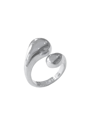Rhodium Double Drop Ring
