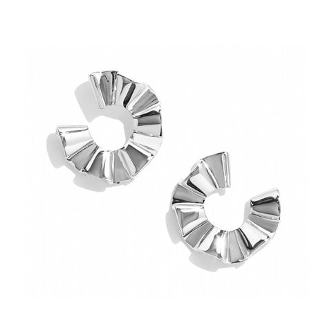 RHODIUM RUFFLE FRONT HOOPS
