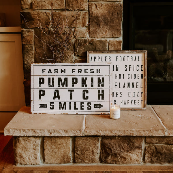 Pumpkin Patch Shiplap Wood Sign and Fall Words Wood Sign