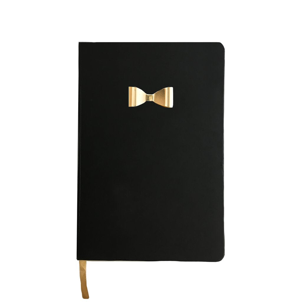 Black Notebook with Gold Bow