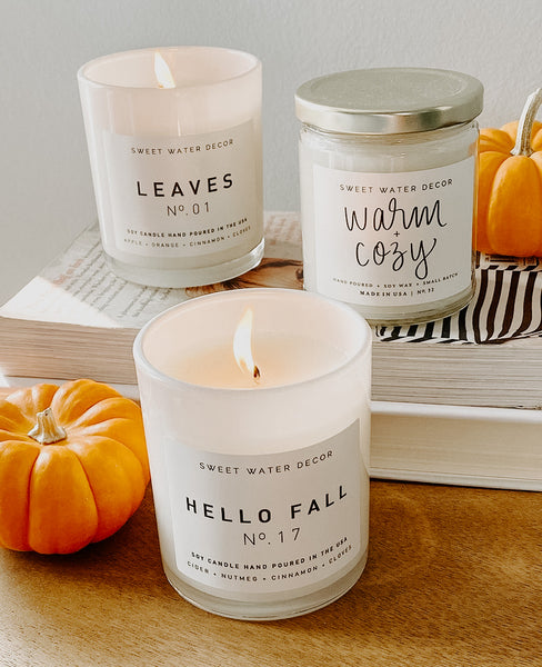White jar fall candles - Hello Fall, Leaves, Warm and Cozy scented soy wax candles