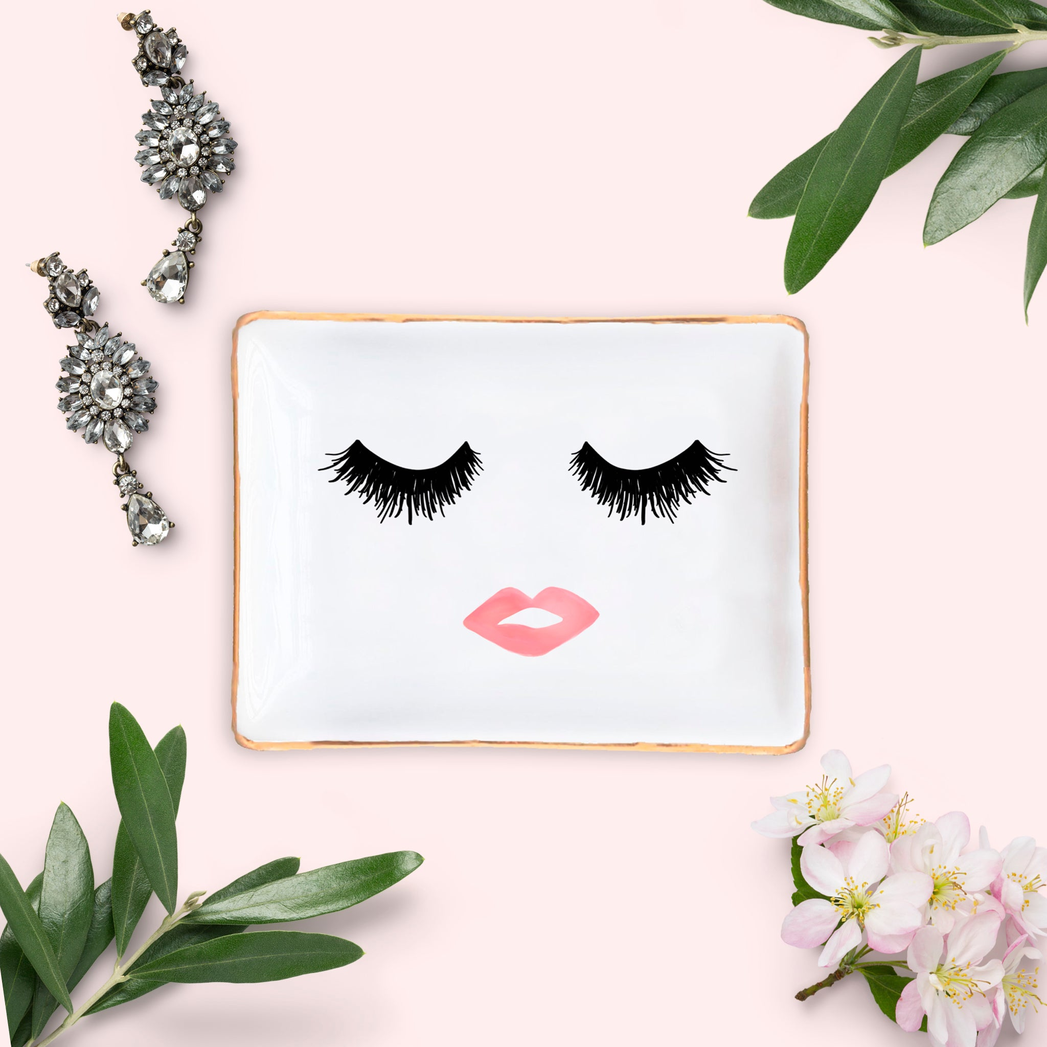 LASHES AND LIPS JEWELRY DISH | SWEET WATER DECOR