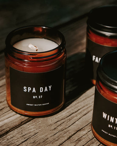 Amber Jar soy wax candle from sweet water decor in the Spa Day scent.