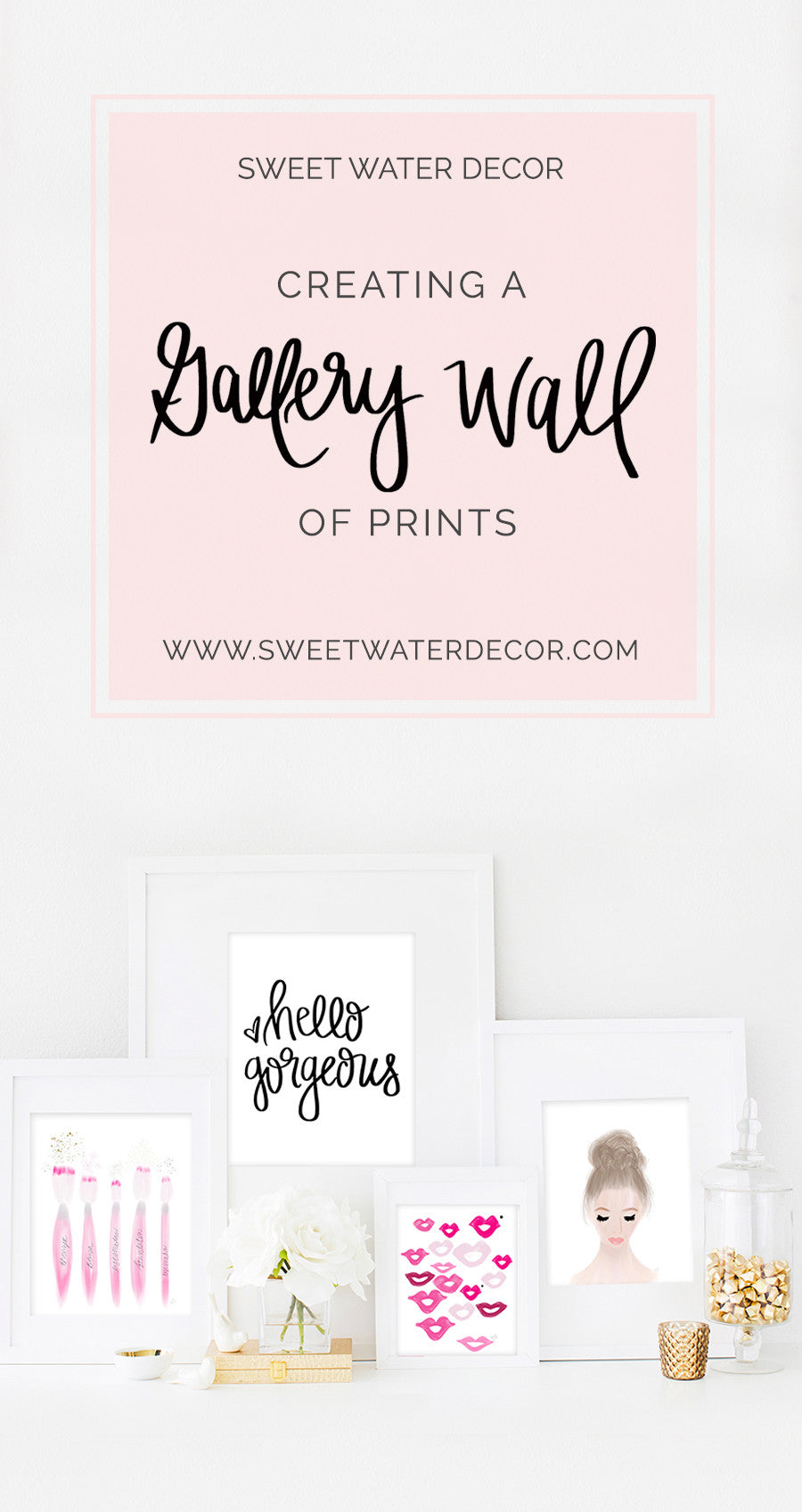 creating a gallery wall of prints sweet water decor. Black Bedroom Furniture Sets. Home Design Ideas