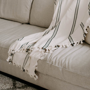 Taylor Turkish Throw Blanket - Three Stripe