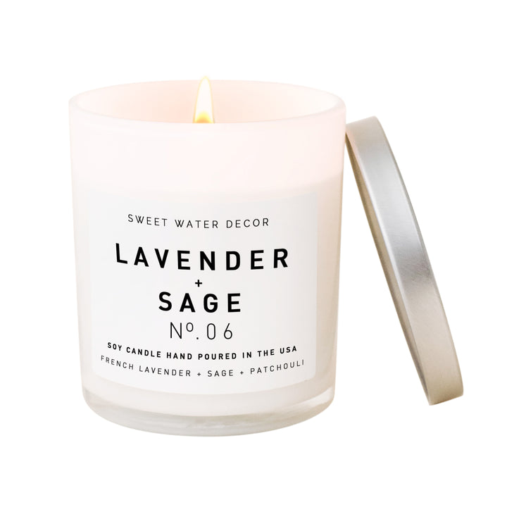 Lavender and Sage Soy Candle | White Jar Candle