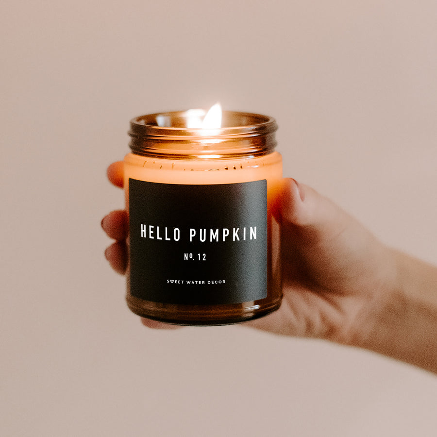 Hello Pumpkin Soy Candle | Amber Jar Candle