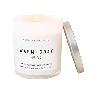 Warm and Cozy Soy Candle   White Jar Candle
