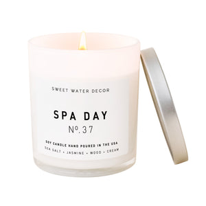 Spa Day Soy Candle   White Jar Candle