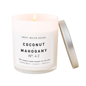Coconut and Mahogany Soy Candle | White Jar Candle