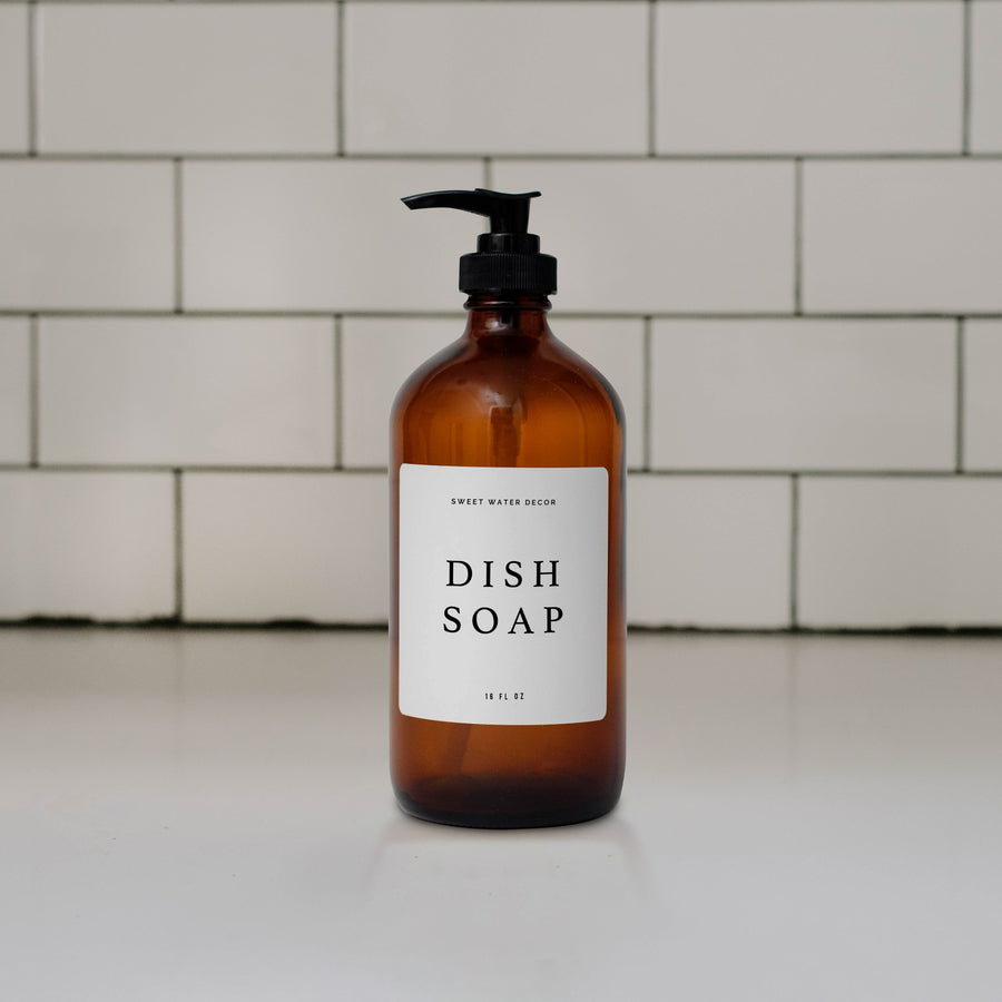16oz Amber Glass Dish Soap Dispenser - White Text Label