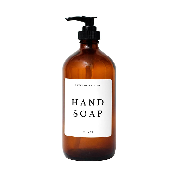 16oz Amber Glass Hand Soap Dispenser - White Text Label