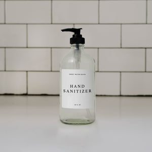 16oz Clear Glass Hand Sanitizer Dispenser - White Text Label