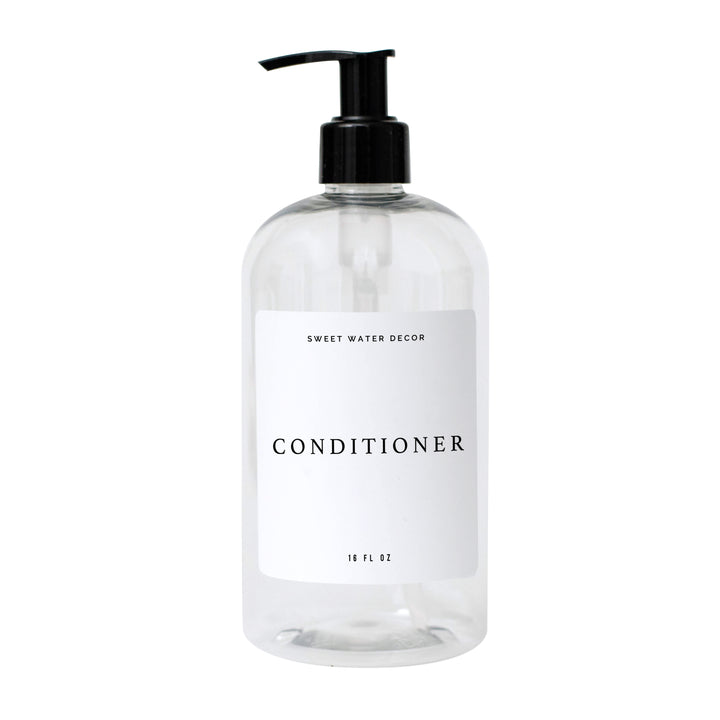 16oz Clear Plastic Conditioner Dispenser - White Text Label