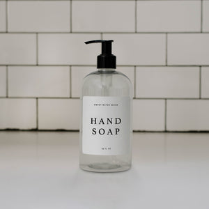 16oz Clear Plastic Hand Soap Dispenser - White Text Label