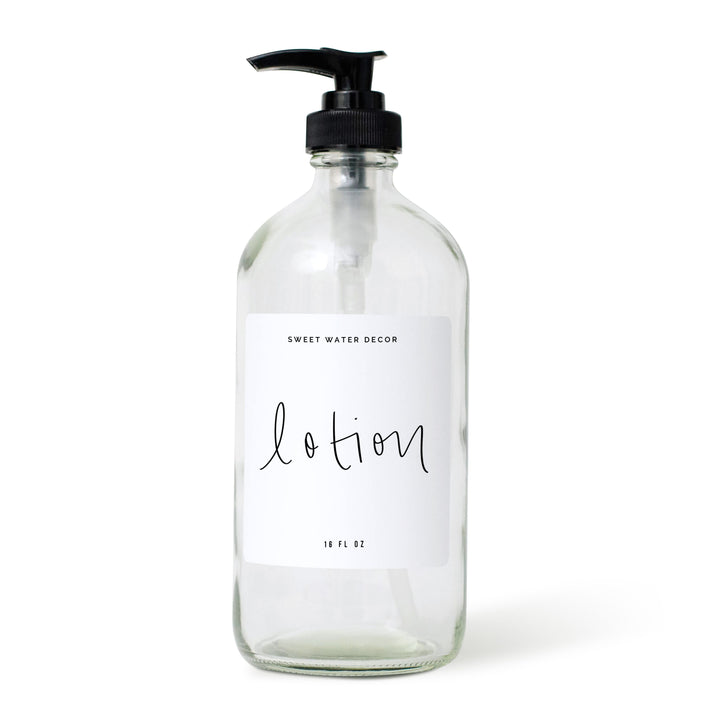 16oz Clear Glass Lotion Dispenser - Script Design