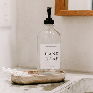 16oz Clear Glass Hand Soap Dispenser - White Text Label