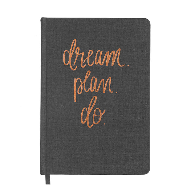 Dream Plan Do Grey and Rose Gold Fabric Journal 1