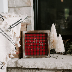 Joy Plaid Wood Sign 8x8
