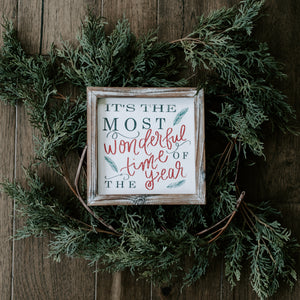 It's The Most Wonderful Time Of The Year Wood Sign 8x8