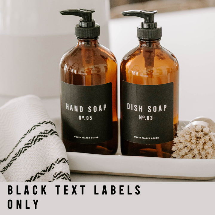 Black Text Labels for  Plastic and Glass Dispensers