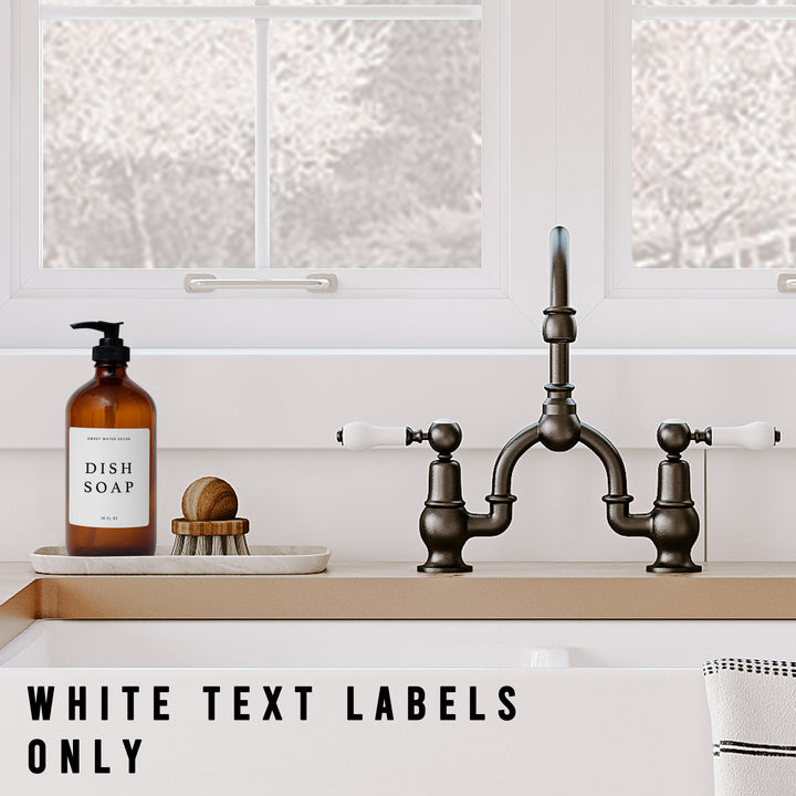 White Text Labels for  Plastic and Glass Dispensers