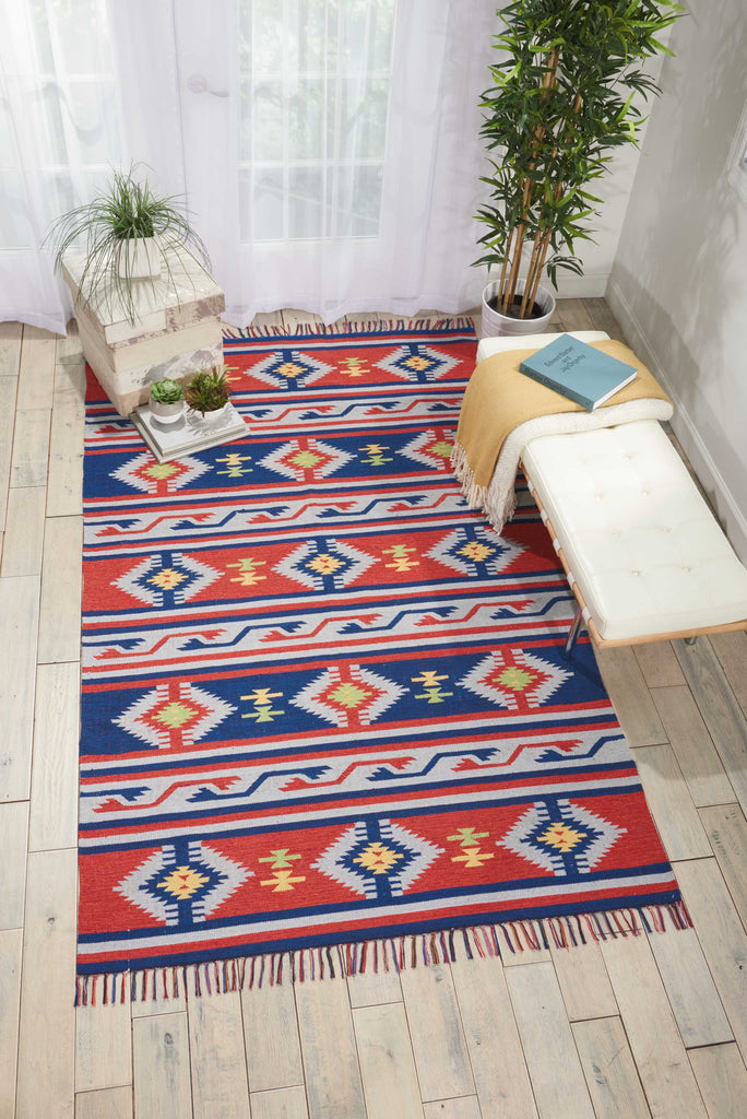 Nourison Baja Blue/Red Area Rug