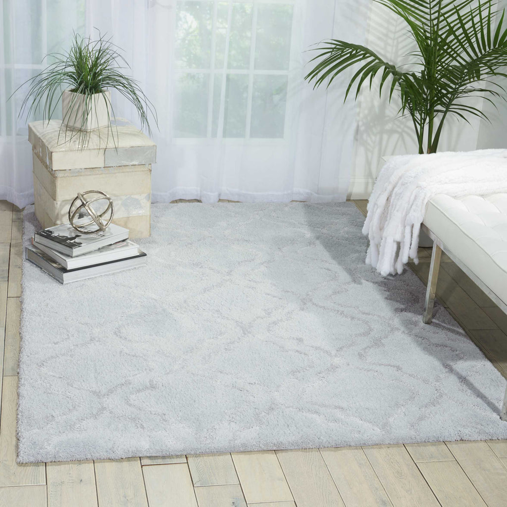 Kathy Ireland Light & Airy Light Grey Shag Area Rug by Nourison