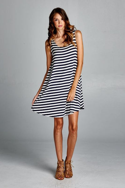 Striped Swing Tunic Dress with Cut Out Back