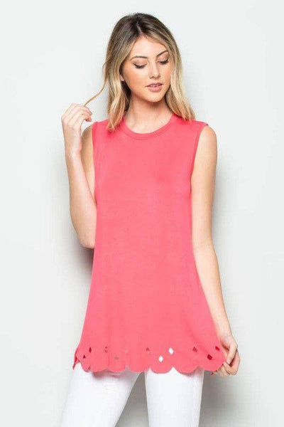 Coral Scalloped Hem Top