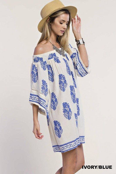 Ivory/Blue Off Shoulder Dress