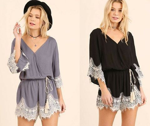 Lace Trim Romper - 2 colors!