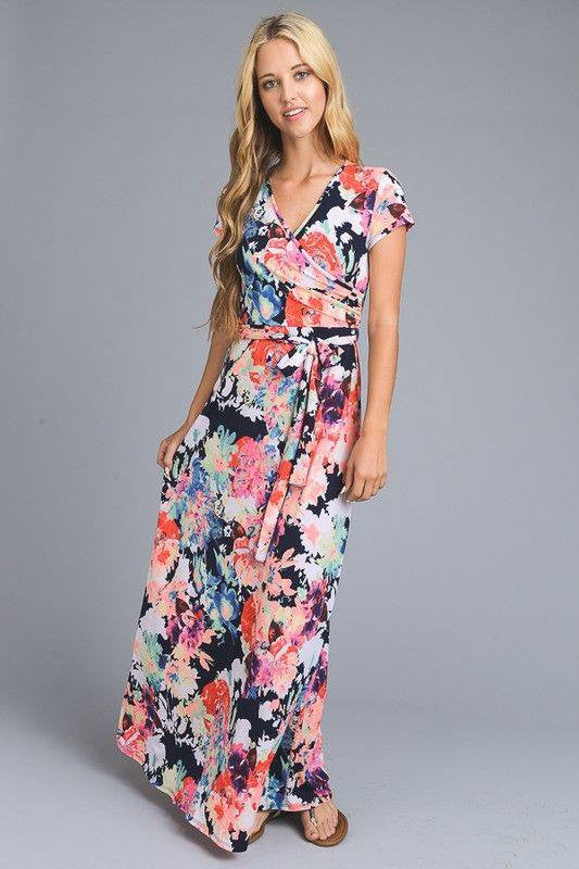 Navy Floral Maxi Wrap Dress