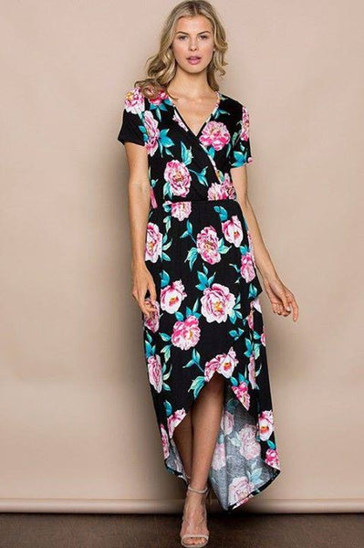 Black Floral High Low Dress