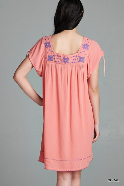 Coral Peasant Dress