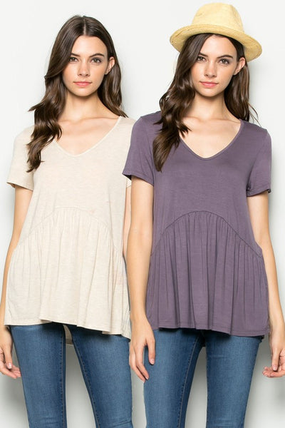 Short Sleeve Ruffle Bottom Top - 4 colors!