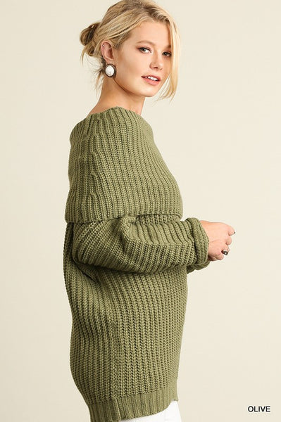 Fold Over Ribbed Sweater - 5 colors!