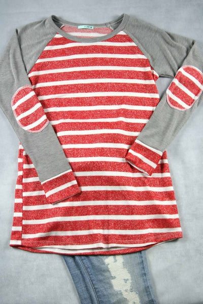 Striped Top with Elbow Patch Sleeves - 3 colors!