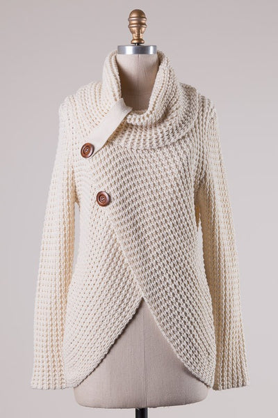 Cowl Neck Cable Knit Sweater - 3 colors!